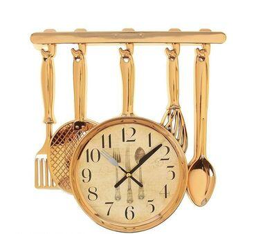 """Часы настенные """"Столовые приборы"""" Золото Размер: 32 см × 3 см × 30 см"""