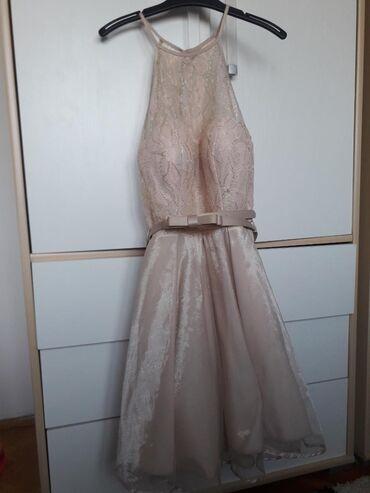 Zlatna-haljina-blondy-radnji-placena - Srbija: Roze zlatna haljina placena 6500nosena samo jednom  velicina S