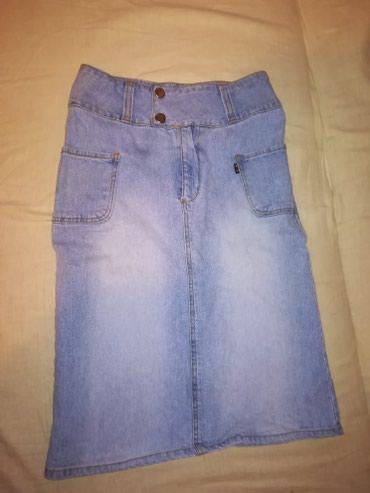 Velic da - Srbija: Duboka teksas suknja. Pise da je velicina 28, mislim da odgovara XS-S