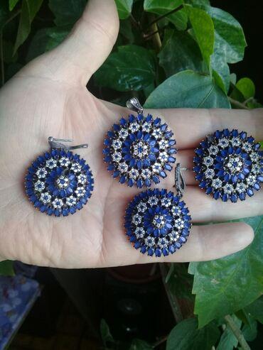 Серебряную колечку и сережку - Кыргызстан: Продаю серебряные наборы. И серебряную цепь 52см