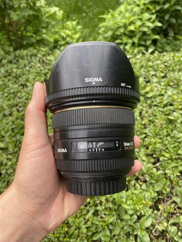 Фото и видеокамеры - Кыргызстан: Продаю объектив Sigma 50 mm 1.4 DG HSM for Canon  В идеальном состояни