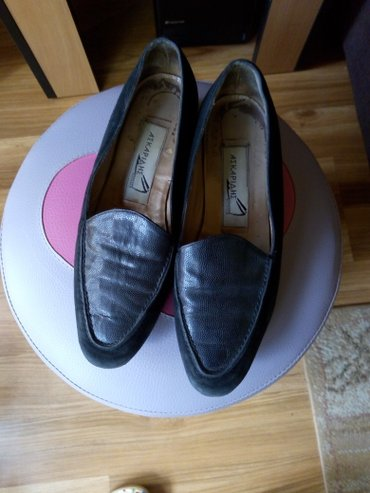 Ravne cipele 37, kombinacija kože i prevrnute kože, bez oštećenja - Pancevo