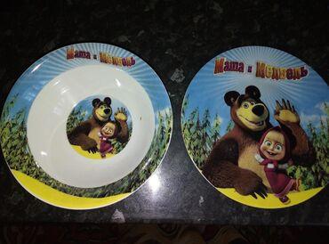 Кухонные принадлежности в Сокулук: Продаю тарелку и пиалку. Маша и медведь для детей. НОВЫЕ. Сокулук