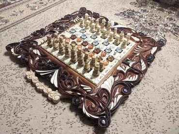 свадебный букет ручной работы в Кыргызстан: Продаю нарды.шахматы.шашки-3в одном полностью ручная работа.новая