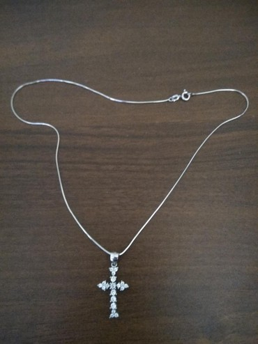 цепь серебряная в Кыргызстан: Цепь серебряная, тонкая, 40 см, 925 пробы + крест серебряный
