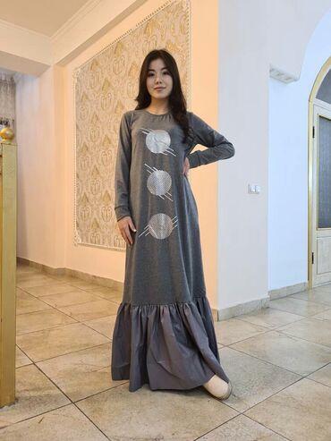 летнее платье 50 размера в Кыргызстан: Серые черные длинные платья Ткань двухниткаВалан ткань ЭКО кожа