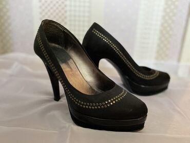 Elegantne crne cipele od satena sa diskretnim cirkonima br.37