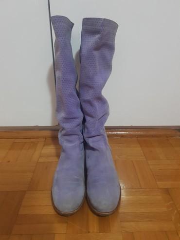 Ljubicaste cizme od prevrnute koze br.39, kupljne u office - Belgrade