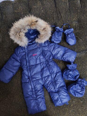 Детский зимний комбинезон Gucci, шикарный натуральный мех (мех и капюш