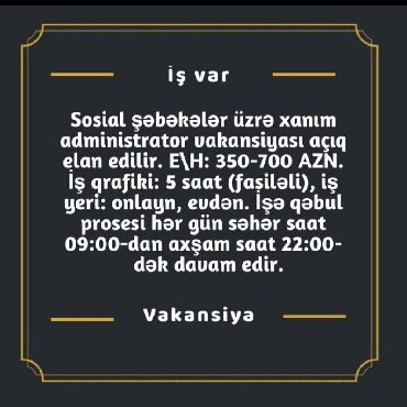 Ищу работу (резюме) в Азербайджан: Xanimlarmizi evde otraraq gelir elde edecek bir is teklfi isdyen