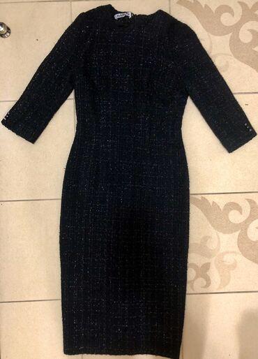 черное платье футляр в Кыргызстан: Продаю теплое платье футляр,размер 40,смотрится очень нарядно,прошу