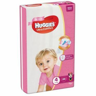 """huggies elite soft в Кыргызстан: Подгузники """"Huggies"""" Ultra comfort #4, 8-14кг, для девочек, 66шт"""