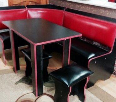Bakı şəhərində Metbex üçün künc divanı iki eded taburetkası ve masası. Siyah