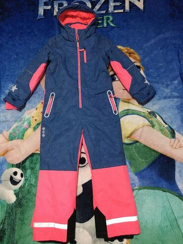 Skafander za devojčice,vel.128.Imitacija teksas tkanja i neon roze