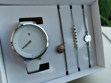 Kucici - Srbija: Zenski SetZenski rucni model sata sa belom koznom narukvicom u paru sa