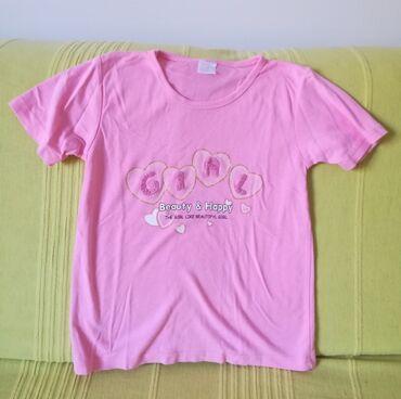 Dečiji Topići I Majice | Vranje: Kvalitetna pamučna roze majica sa aplikacijom GIRL vel 12, obim grudi