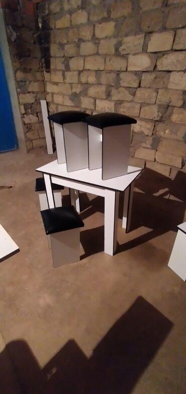 стол деревянный кухонный в Азербайджан: Masa ve 4 tabletqa masa 60x90. super endirimlər başladı