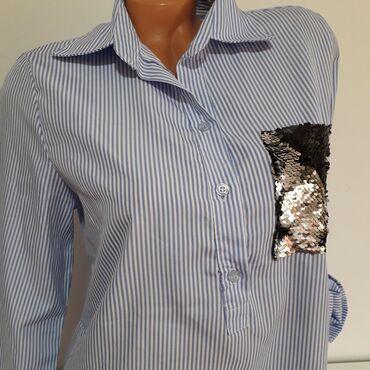 Prelepa italijanska košulja na prugice vel L Nije korišćena