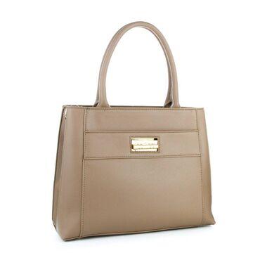 Строгая сумка из экокожи, в черном, бежево-коричневом и красном
