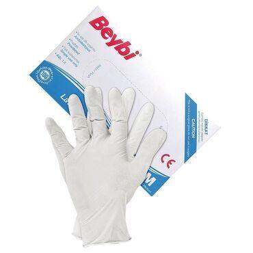 Нитриловые перчатки - Кыргызстан: Перчатки нестерильные опудренные № 100 ( 50 пар)  Латекс. Размер S