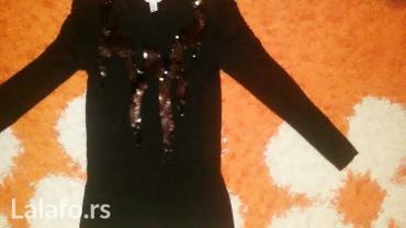 Zenska crna pamucna majica dugih rukava sa sljokicama s / - Barajevo