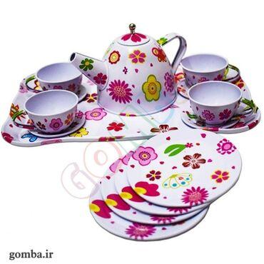 Детский Набор посуды, чайный сервиз из металла для девочек, хорошего