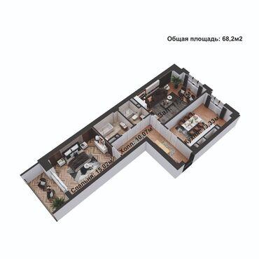 Продажа квартир - 2 комнаты - Бишкек: Элитка, 2 комнаты, 68 кв. м