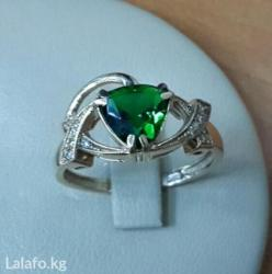 Золотое кольцо с бриллиантами и изумрудом в Бишкек