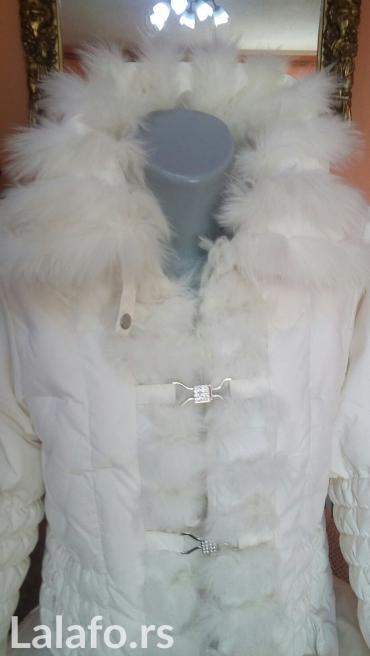 PRIRODNO KRZNO BUNDA Snezna pahuljica perjana duza jakna mantil sa - Krusevac