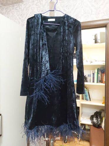 платья из велюра в Кыргызстан: Велюровое платье с перьями. Made in Turkey на тойчике будете