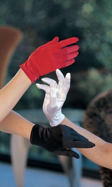 наволочки из атласа в Кыргызстан: Короткие атласные перчатки. Цвет: черный, красный