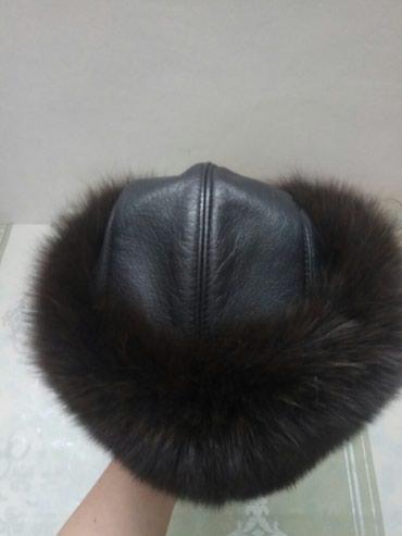 Женская меховая шапка, кожаная, мех натуральный 3500сом