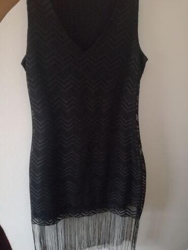 Crna uska haljina sa resama
