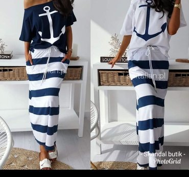 Mornarska duga suknja extra model Pamuk elastin vel S M L Novo SNIŽENJ
