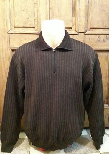 Lagani italijanski muški džemper 50%vuna, braon boja vel piše 50