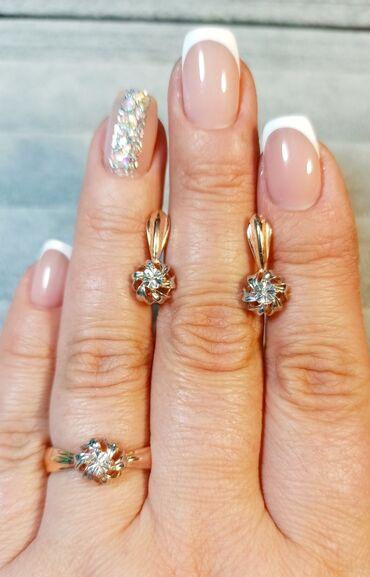 Заводские бриллианты, серебро 925 пробы,золочение, размер кольца 18 и