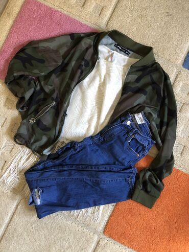 KOMPLET+PAKET=Majica sa resama S/M,farmerke tally Weijl M veličina,Mil