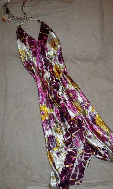 Elegantna duga saten haljina, vezivanje oko vrata, leprsava i - Novi Sad