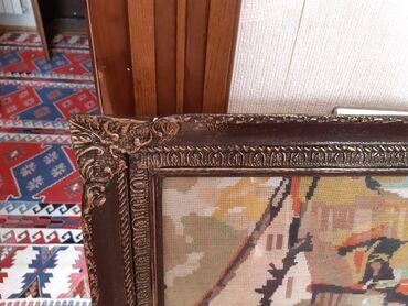Декор для дома в Азербайджан: Картина старинная вышивка деревенский пейзаж.Рамка деревянная сверху
