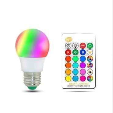 Led RGB sijalica + daljinskiCena: 1100 dinara. E27 RGB LED sijalice sa