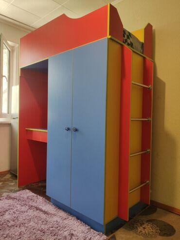 2708 объявлений: Продам детский комплекс 3 в 1: кровать, письменный стол, шифоньер