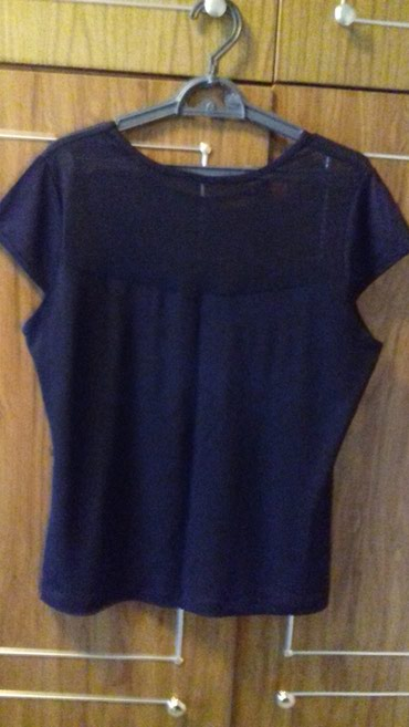 нарядные блузки в Кыргызстан: Блузка черная трикотаж, вверх сетка, нарядная. размер 52-54. б/у