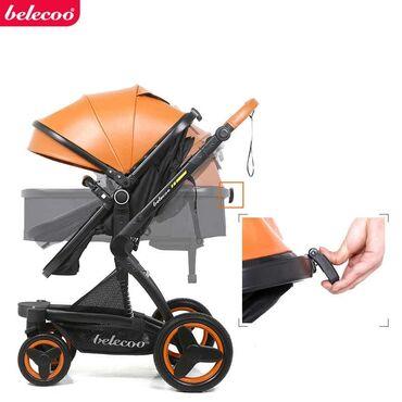 детская коляска - Azərbaycan: Belecoo Eko deri 2/1brendi+Aftokreslo❤  Körpənizin butun ehtiyaclarin