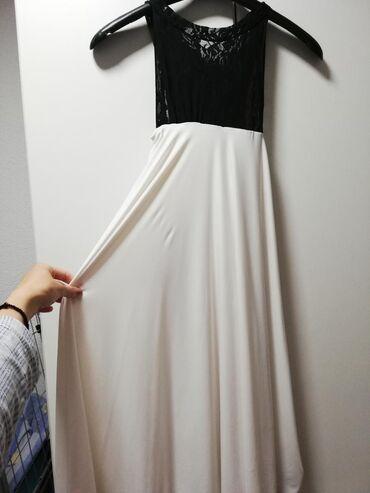 Bela haljina sa cipkom - Srbija: Bela haljina sa crnom cipkom. Jedno nosena. Malo ispod kolena