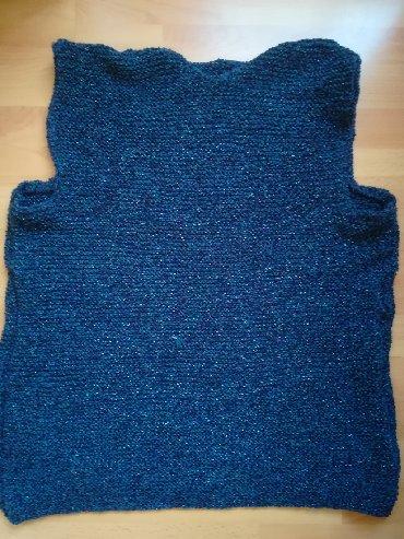 Obim-grudcm-duzina-cm - Srbija: Novi pleteni vuneni prsluk, obim grudi 116 cm, dužina 72 cm