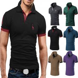 Men Fashion Slim Simple Solid Color Short Sleeve Lapel T-shirt -Black σε Athens