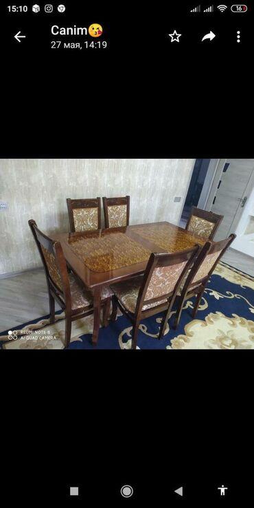 Masa dəsti satılır.Masa açılır 6 ədəd stulu var.180₼ ünvan