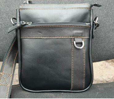 чёрная-сумка в Кыргызстан: Мужская барсетка из натуральной кожи ручной работы #сумки#барсетки