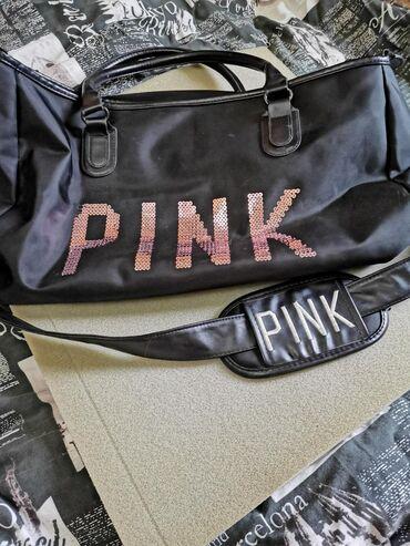 маленькое черное платье для полных в Кыргызстан: Вместительная спортивная сумка PINK под VS, не промокает, есть длинный