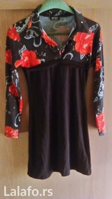Novo tamno braon haljina sa narandžastim cvetovima... Veličina m sa - Vrnjacka Banja